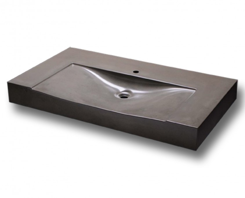 plan vasque béton massif