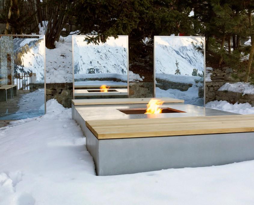 table feu outdoor béton