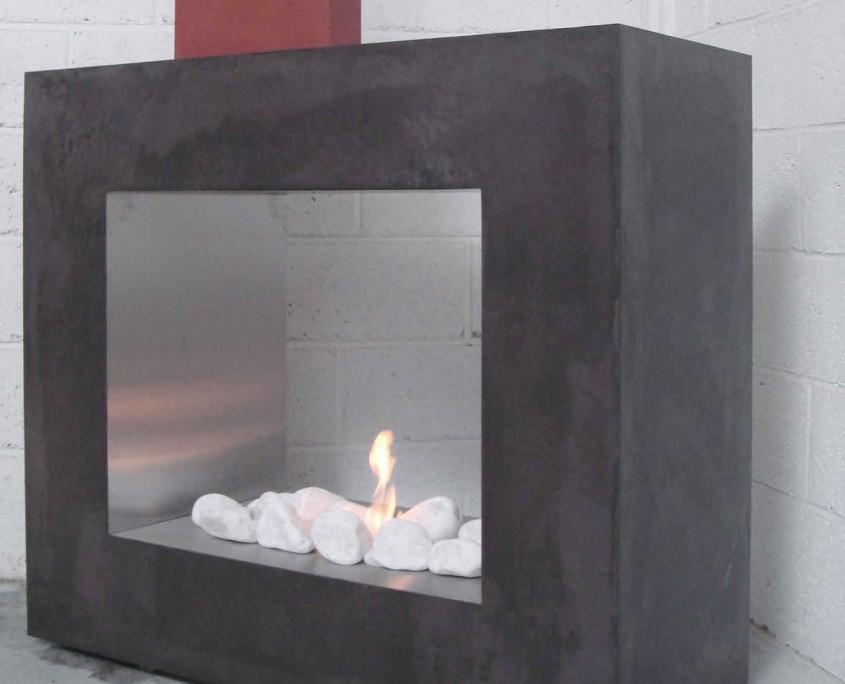 cheminée habillage béton ciré