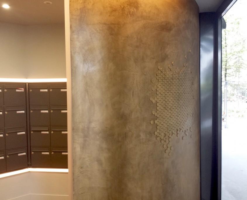 Nouvelle vague - béton ciré métallisé mural